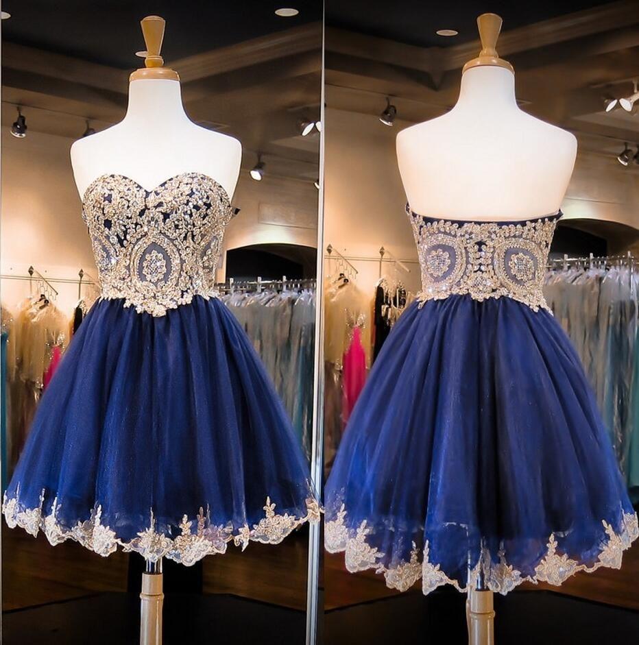 Gold lace homecoming dress dark blue homecoming dress navy blue