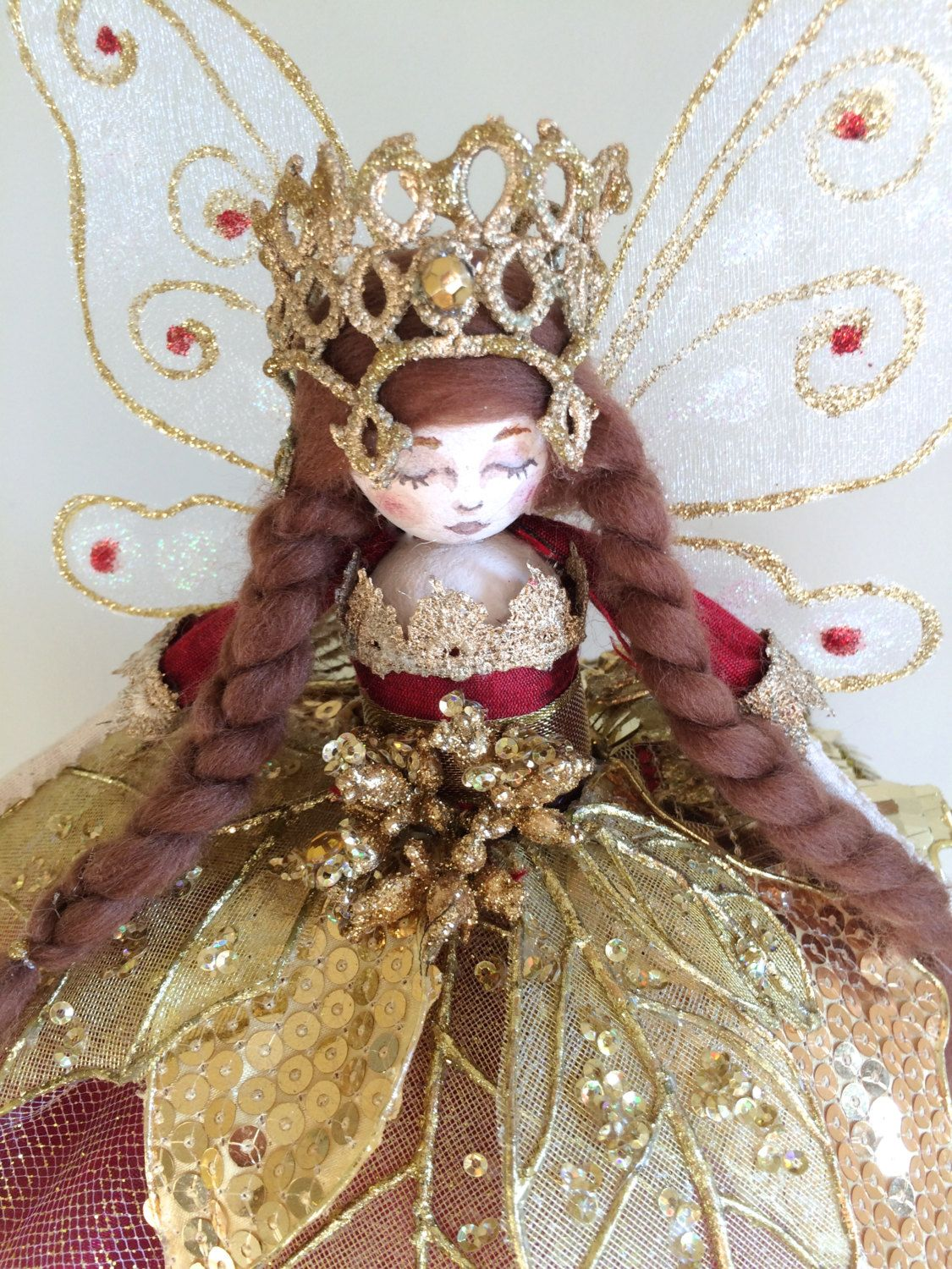 Uncategorized How To Make A Fairy For The Christmas Tree christmas tree top fairy red and gold by fabulousfairyfactory on etsy