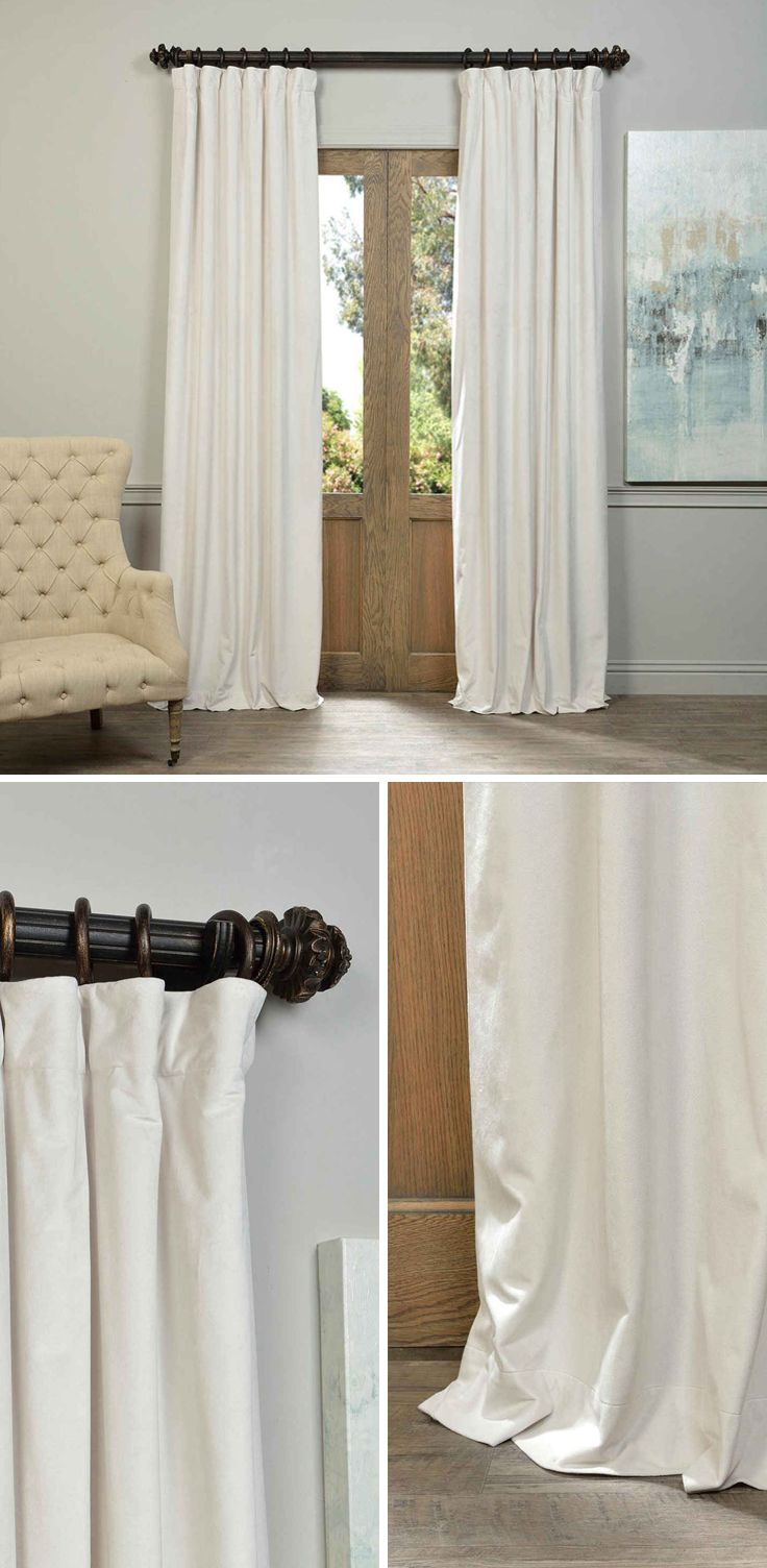Soft Plush Pile Velvet Curtains Have A Natural Luster With A Depth Of Color That Creates A Formal Polished Loo Cool Curtains Velvet Curtains Half Price Drapes #off #white #living #room #curtains