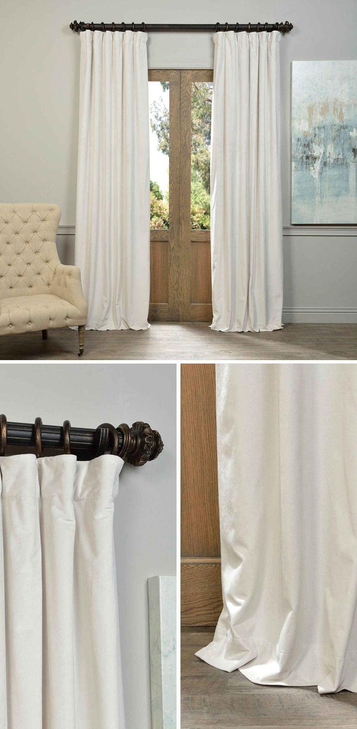 Off White Blackout Velvet Pole Pocket Single Panel Curtain 50 X 96 Half Price Drapes Drap Cool Curtains Velvet Curtains Half Price Drapes