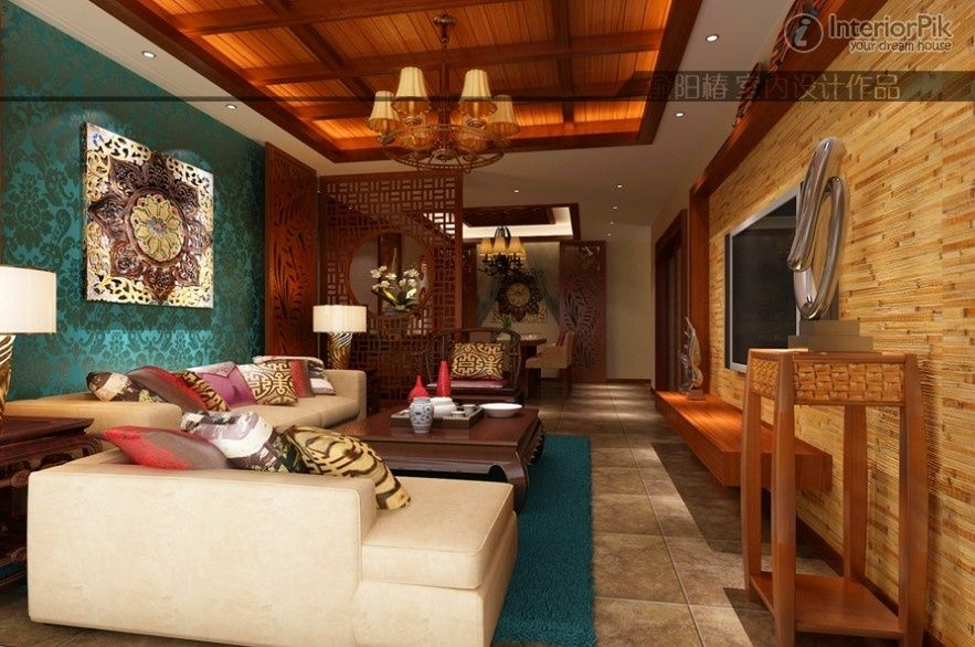 southeast asian style living room ceiling decoration | living room