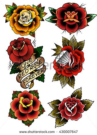 Traditional Tattoo Flowers Set Old School Tattooing Style Ink