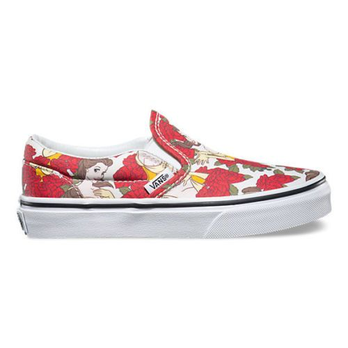 Vans-Disney-Womens-Trainers-True-White-Red-Princess-Belle-Canvas-Slip-On