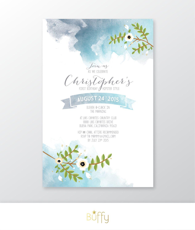 Vintage Blumen Aquarell U0026 Kalligraphie Einladung. Jungs Geburtstag Taufe  Taufe Hochzeit. Teal Blau Navy Grau. Benutzerdefinierte Party PDF Von  BuffyWeddings ...
