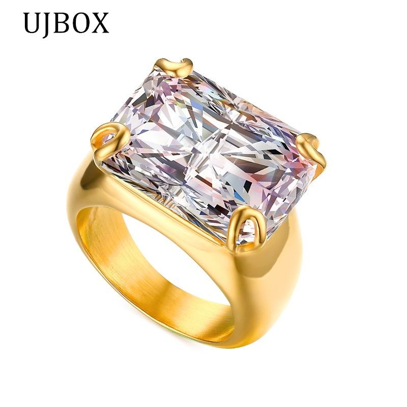 UJBOX Fashion Big Cubic Zirconia Rings For Women Gold-color ...