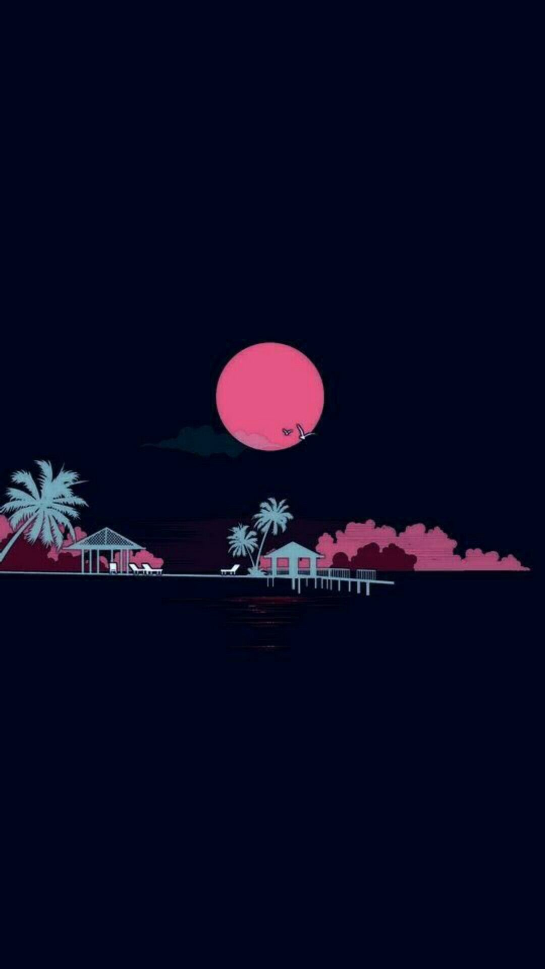 Smartphone wallpaper / Simplistic / Beach / Palm trees