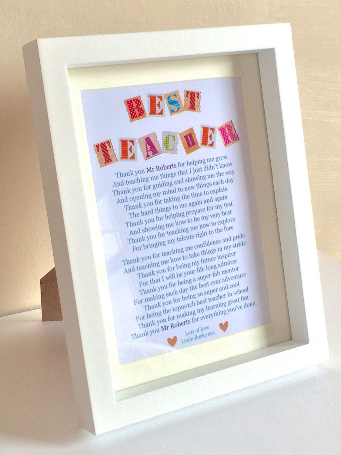 Thank You Teacher Gift For Him Her Personalised Teacher Poem