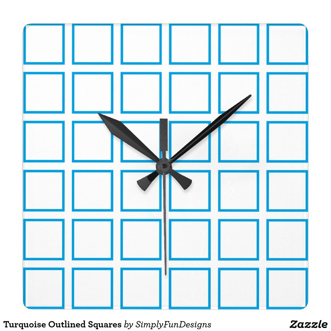 Turquoise Outlined Squares Square Wall Clock