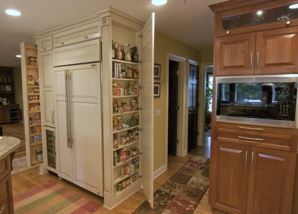 Great Use Of Tall Narrow Space Next To The Refrigerator Pantry