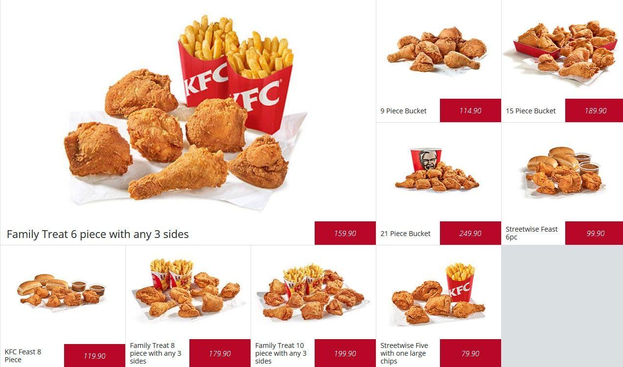 Bucket kentucky fried chicken menu prices en 2020