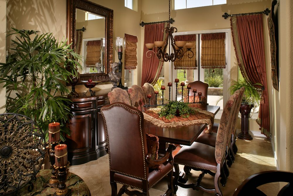 Curtains Separating Two Rooms To Create Individual Spaces Must Use Rich Opulent Textiles Only To Pull This Off Tuscan Dining Rooms World Decor Tuscan House