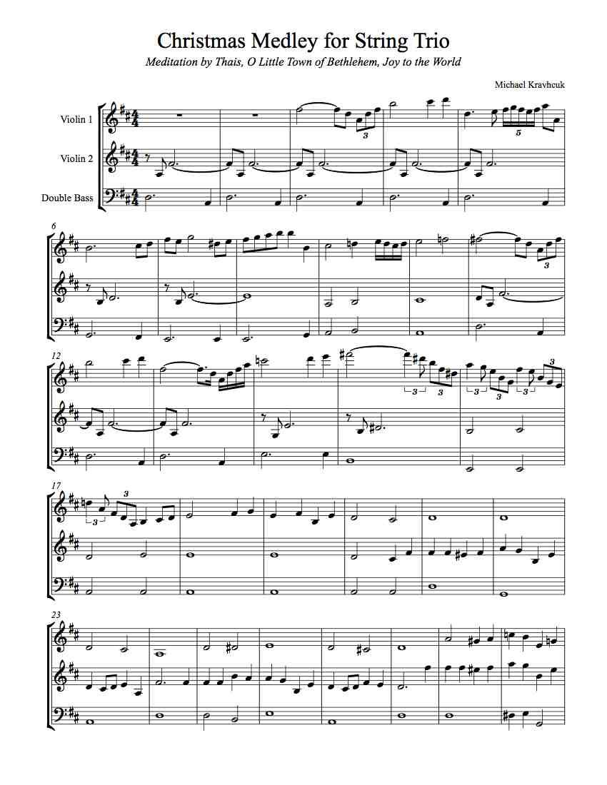 Free Sheet Music for a Medley of Meditation by Thais, O