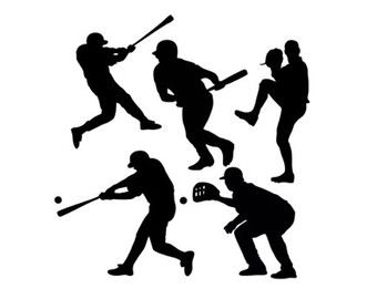 baseball players sports set svg