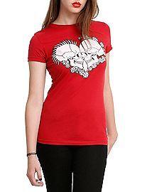 HOTTOPIC.COM - Skull Lovers Heart Girls T-Shirt