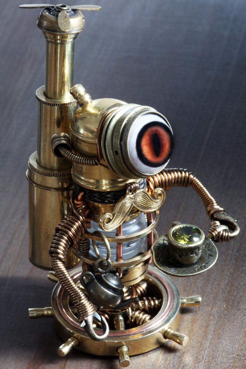 steampunk mustache robot drinking
