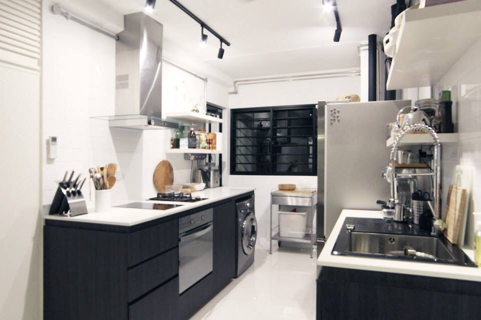 3 room hdb flat in tampines, singapore. black and white kitchen