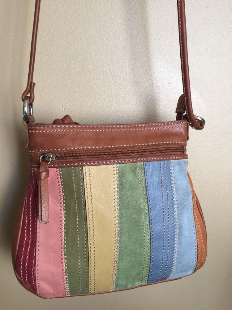 Vintage Fossil Patchwork Brown Leather Suede Stripe Multicolor Crossbody  GUC  0fa7f27cd31ff