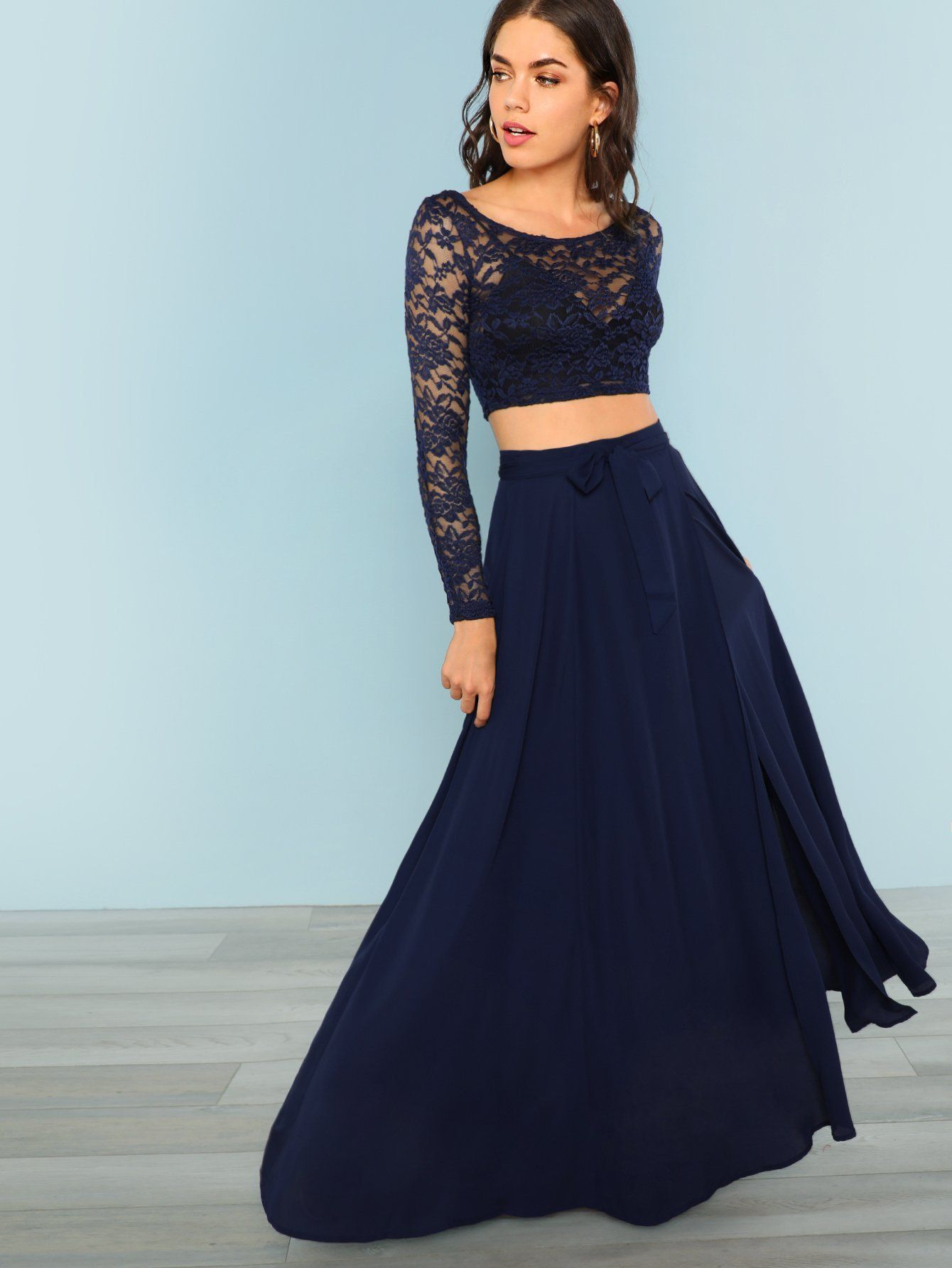 38aecb56c7 Crop Lace Top & Knot Skirt Set | Products | Lace crop tops, Blue ...