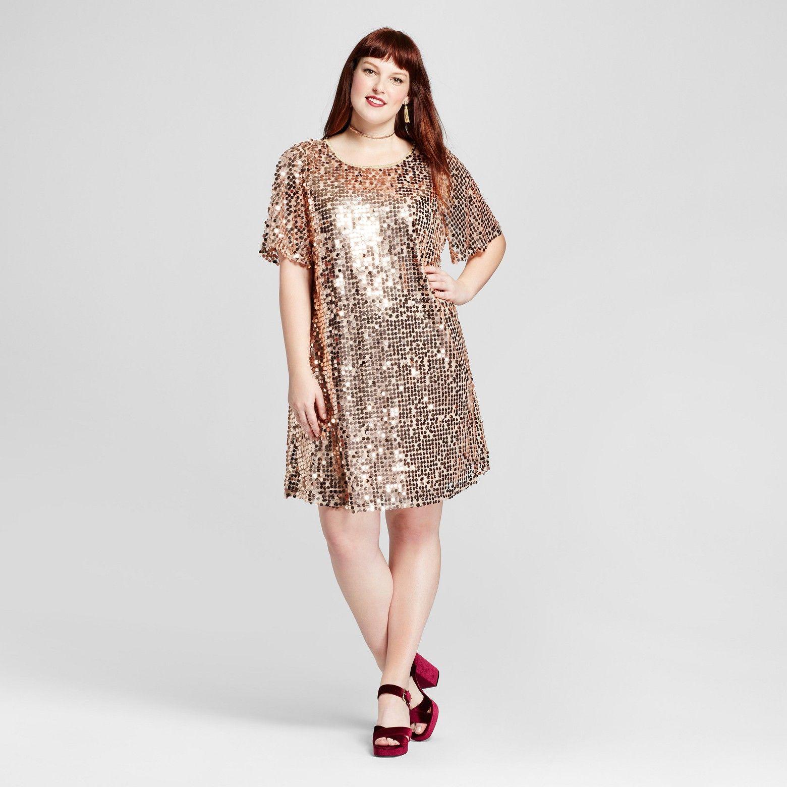 Rose Gold Short Sleeve Sequin Dress From Xhilaration Target Com Plus Size Sequin Dresses Plus Size Party Dresses Plus Size Outfits [ 1560 x 1560 Pixel ]