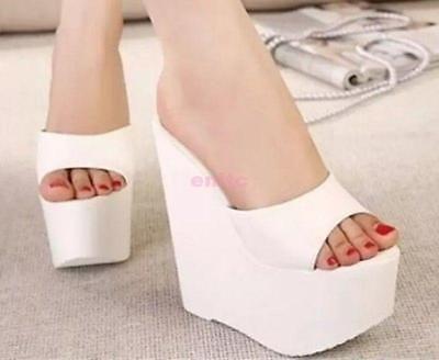Womens Platform Wedge Super High Heel Peep Toe Sandals Shoes