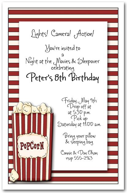 sleepover birthday parties movie invitation - Movie Birthday Party Invitations