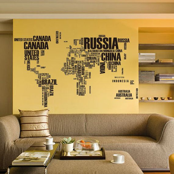 Large World Map in Words Removable Vinyl Wall by ZooYooWallDecal ...