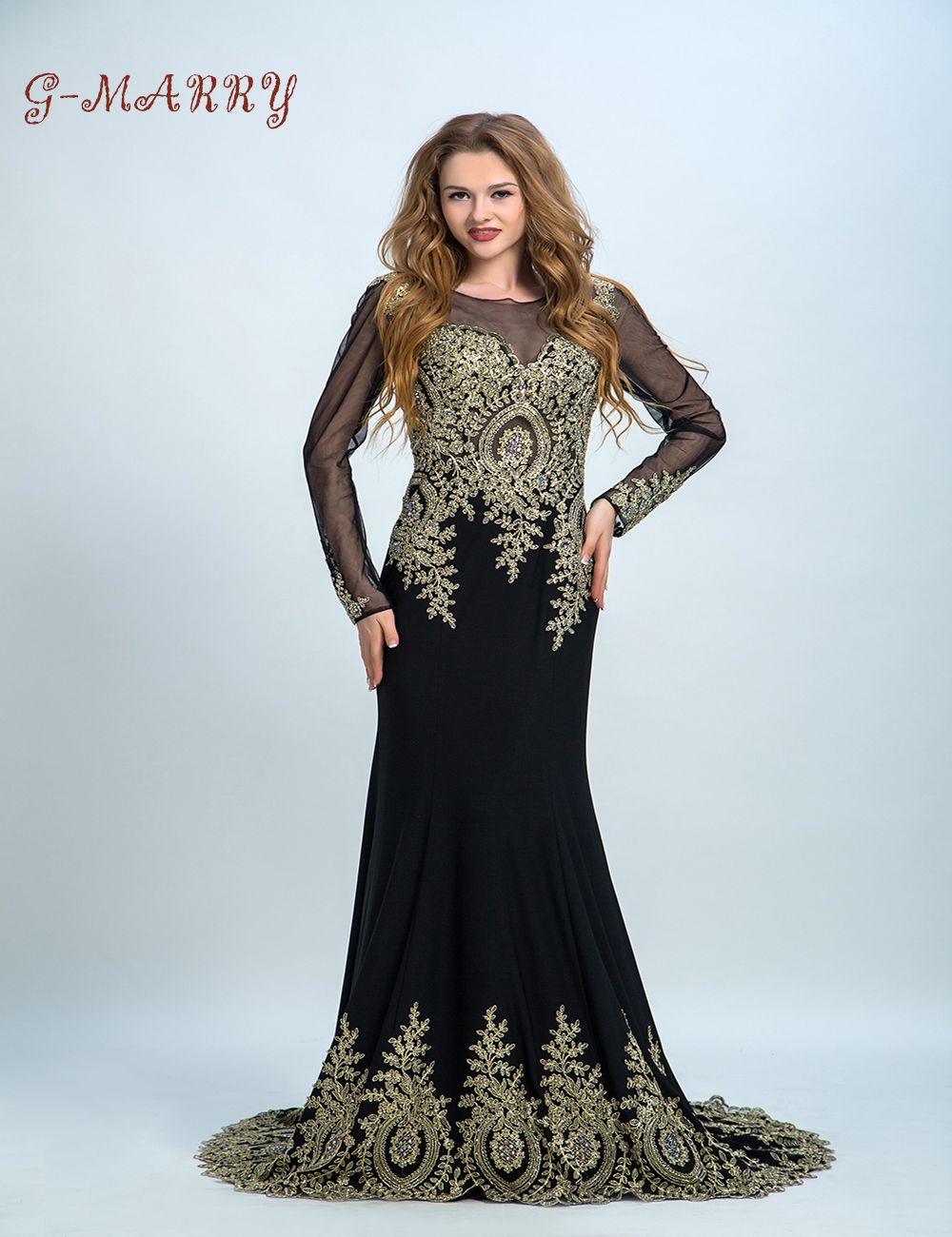 Trumpet long evening dress applique beads long sleeves party prom