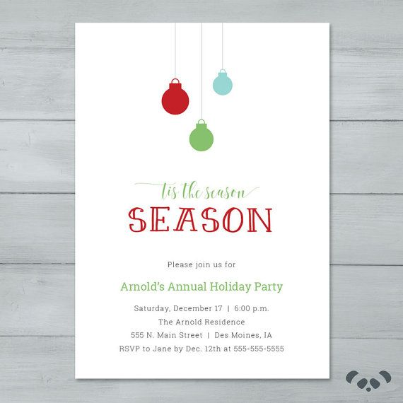 Holiday Party Invitation Christmas Party by PandafunkCreations - holiday party invitation