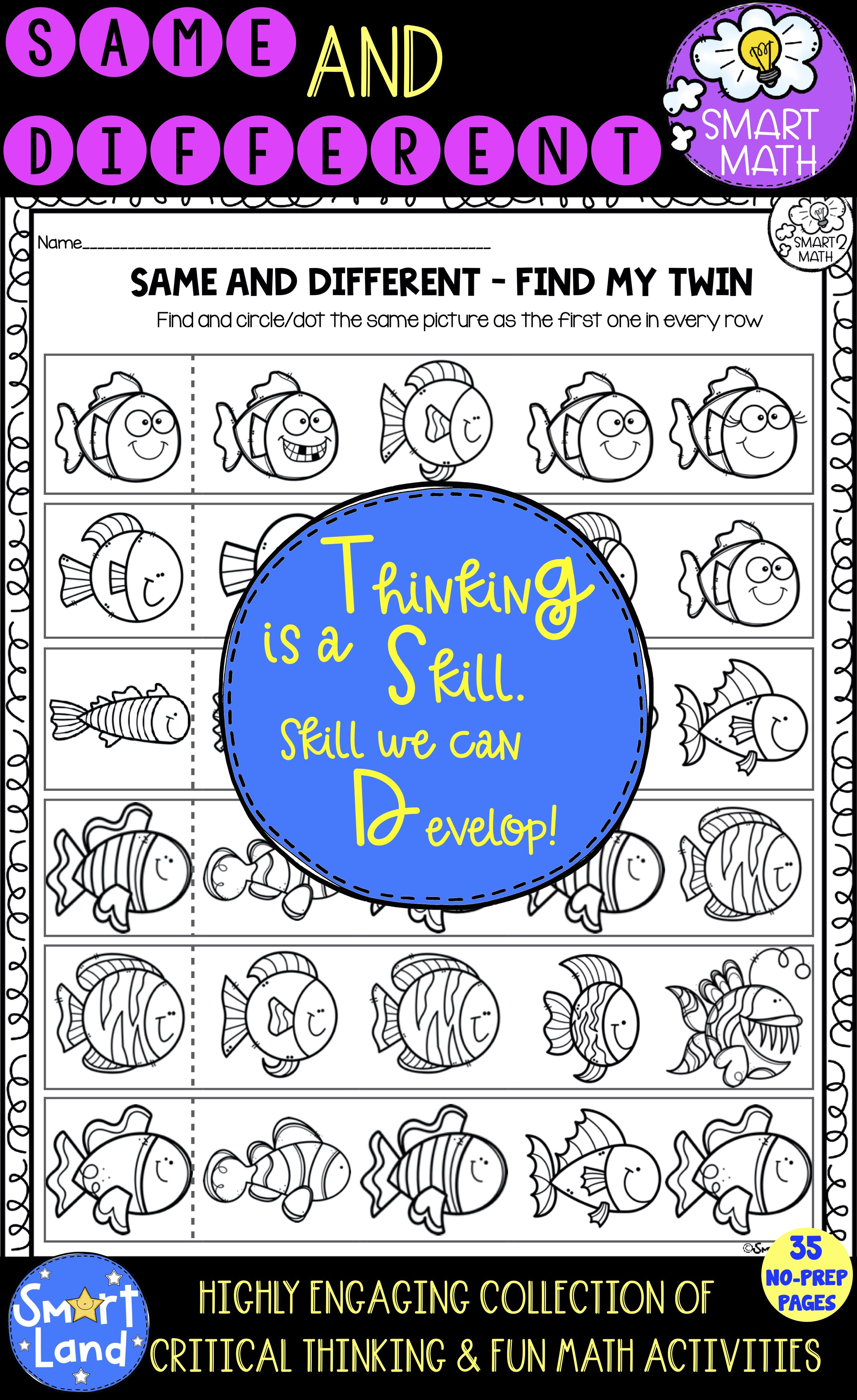 Same And Different Worksheets Critical Thinking Practice