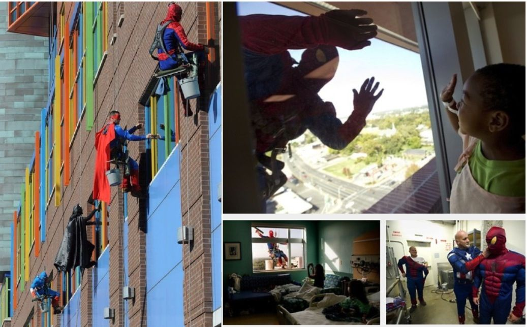 These men are window washers at a children's hospital in Pittsburg. Some might think the job is menial, but to the kids who are horribly ill, looking out their window seeing their favorite superhero at their window makes all the pain go away for a bit. And that would make the job worthwhile. -- Ultimate badassery.
