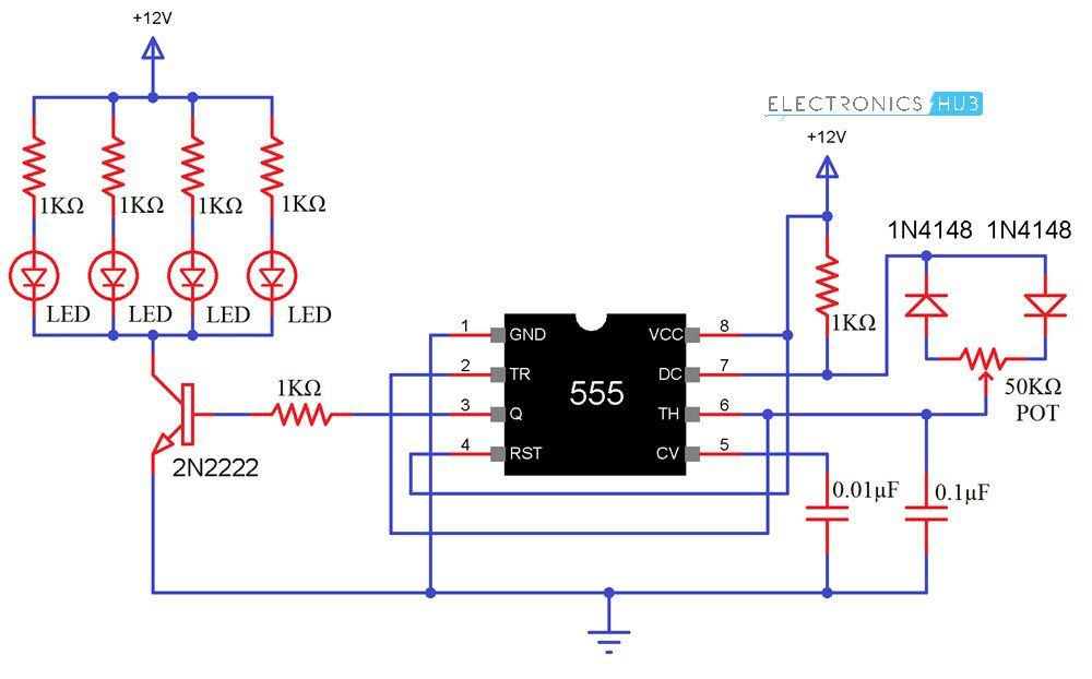 Pwm Based Led Dimmer Using 555 Circuit Block Diagram Working Led Dimmer Led Circuit