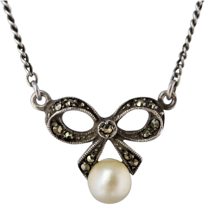 Vintage 1940 S Sterling Silver Marcasite And Cultured Pearl Ribbon Bow Necklace Sterling Silver Marcasite Bow Necklace Silver