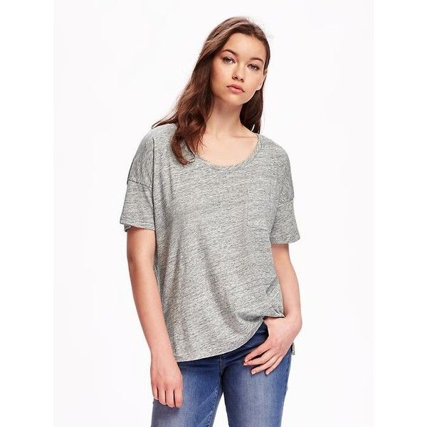 9e1764d7be Old Navy Womens Boyfriend Pocket Tee ($12) ❤ liked on Polyvore featuring  tops, t-shirts, grey, petite, boyfriend tees, old navy t shirts, short sleeve  t ...