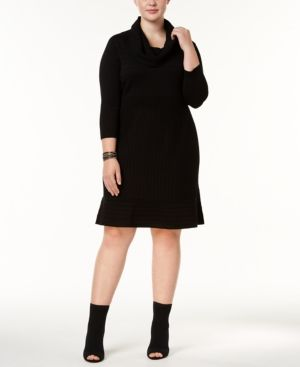 cd998263bbc INC Plus Size Cowl-Neck Sweater Dress