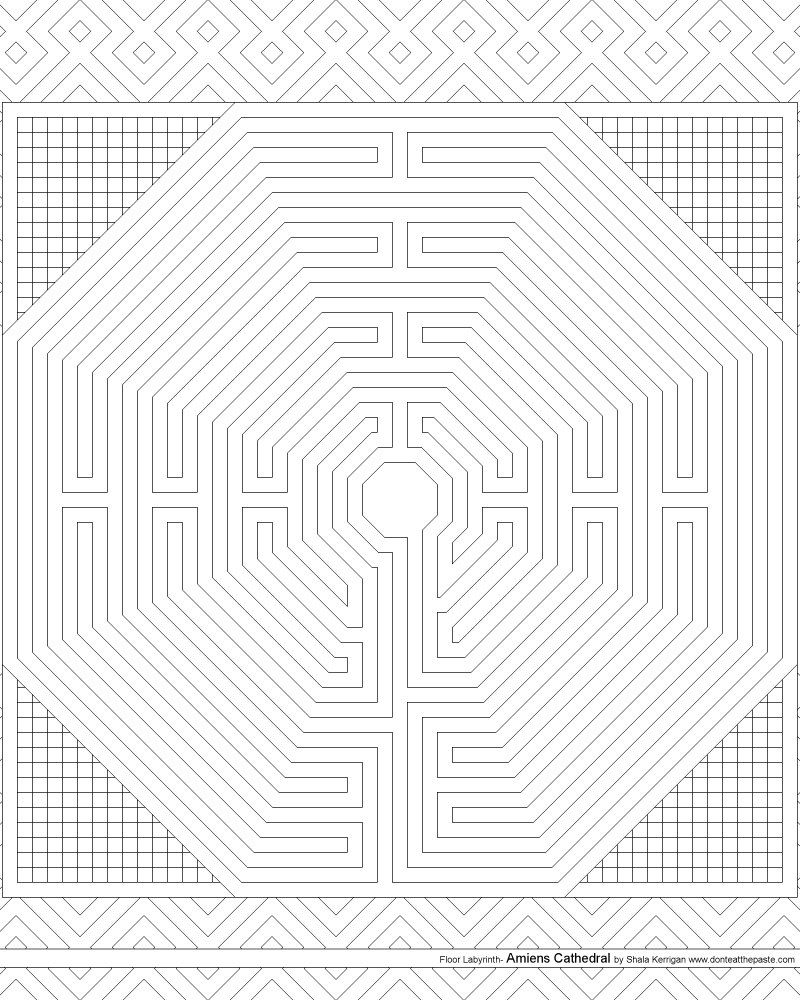 Amiens Cathedral floor labyrinth coloring page   Ausmalen, Geometrie ...