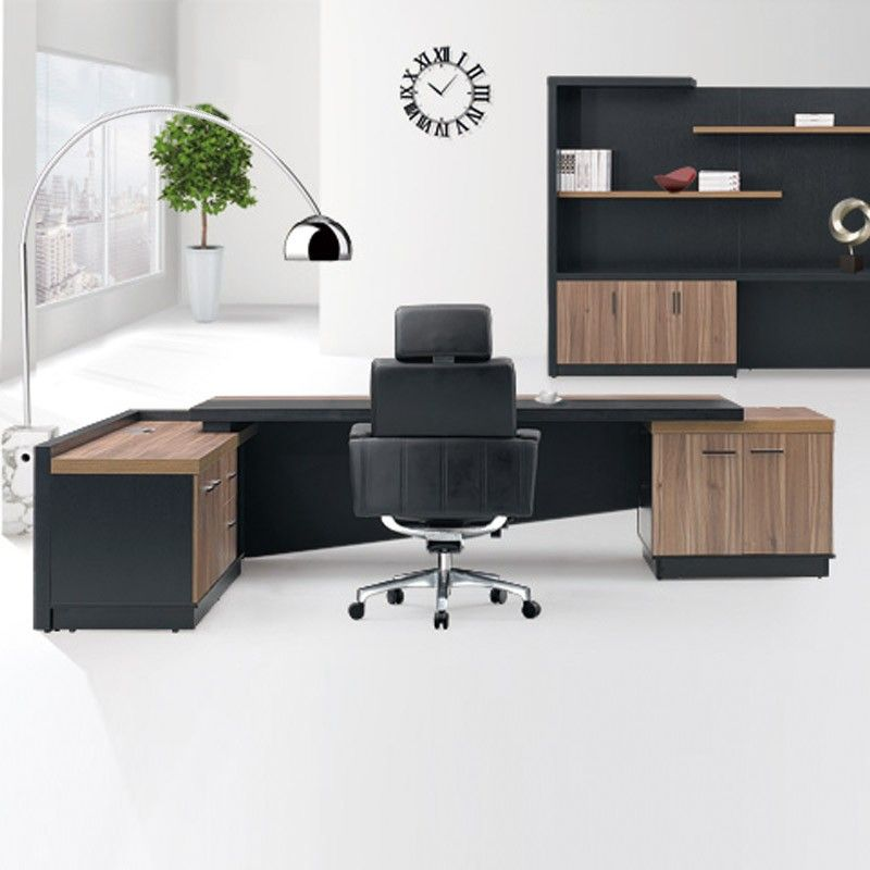 Attractive Fashion High End Office System Furniture L Shape Manager Executive Office  Desk With Long Cabinet