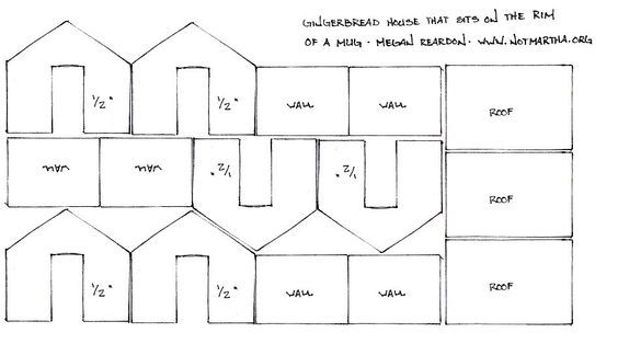 Template Plan Pattern For Mini Gingerbread House That Sits On The Rim Of Cup Or Mug H Mini Gingerbread House Gingerbread House Mini Gingerbread House Template