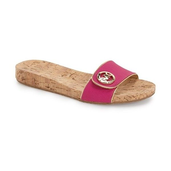 MICHAEL Michael Kors 'Lee' Slide Sandal (£60) ❤ liked on Polyvore featuring shoes, sandals, fuschia, slide sandals, fuschia shoes, cork footbed sandals, fuchsia sandals and michael michael kors sandals