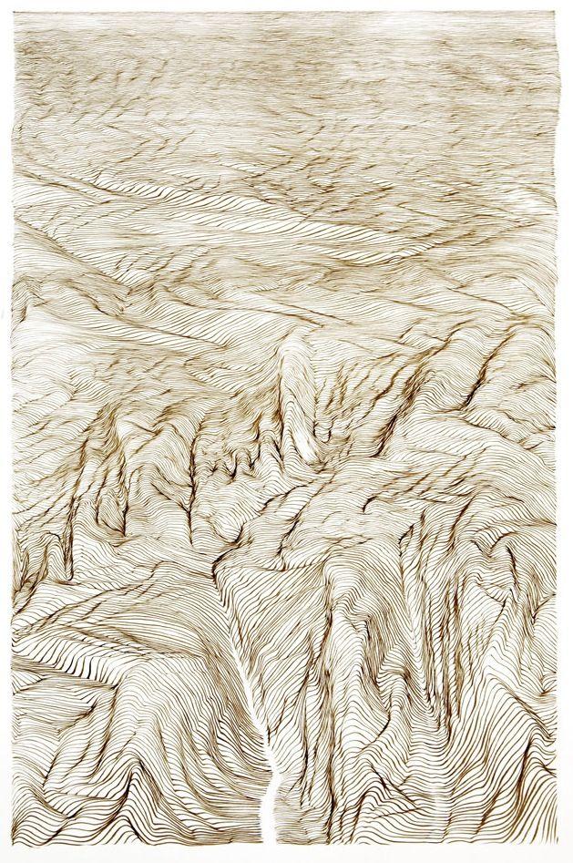 """ESCUDERO, Juan (Bilbao, 1966).  """"Death valley"""", 2010.  Tinta sobre papel.  Se expedirá certificado de autenticidad a petición del comprador.  Enmarcado.  Medidas: 50 x 35 cm."""