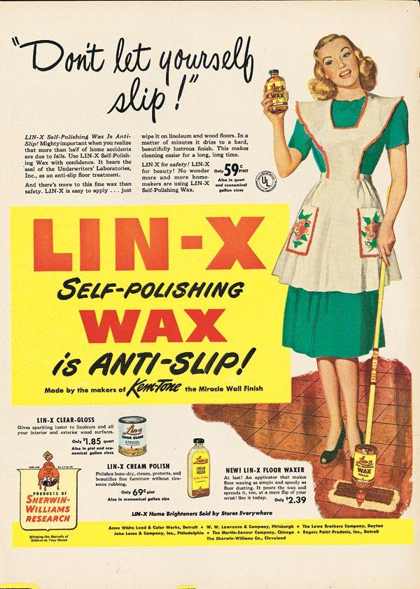 Lin-X Self-polishing Wax, 1946. Click for more #vintage #spring ...