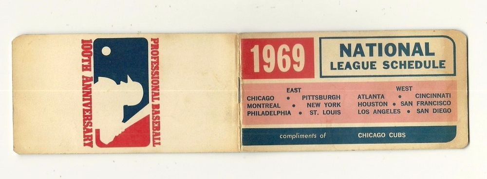 1969 National League Schedule Booklet compliments of CHICAGO CUBS