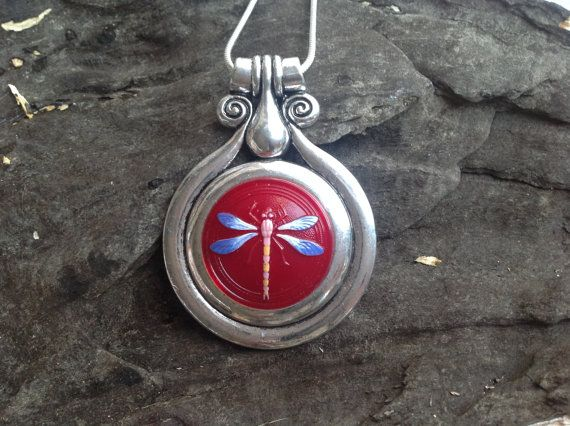Tibetan Silver Pendant with a stunning center piece by dabsdesigns