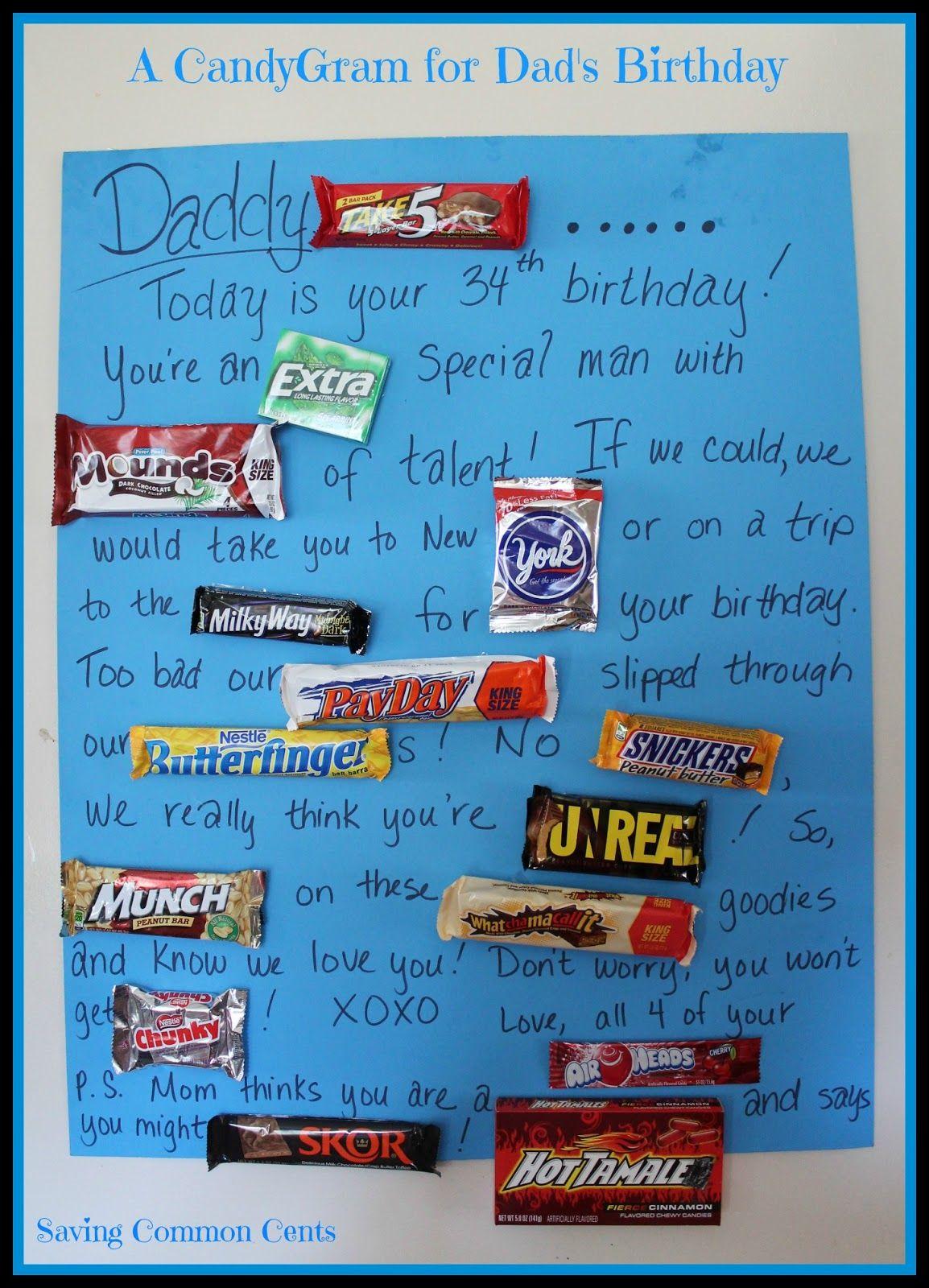 a candygram for dad's birthday  dad birthday diy