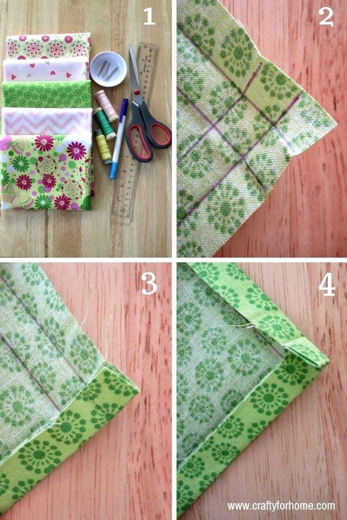 Coudre les serviettes en coin à onglet à la main | Crafty For Home   – Kendin yap