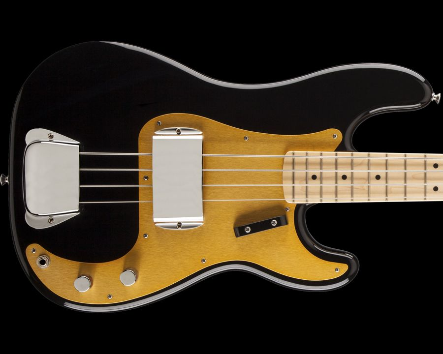 Fender American Vintage 58 Precision Bass Black With Gold Anodized Aluminum Pickguard Vintage Bass Guitars Fender American Vintage Fender Precision Bass