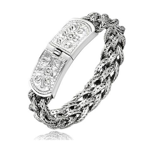 #Mens #Fashion 925 Wheat Styled #Silver Latched Trendy #Bracelet