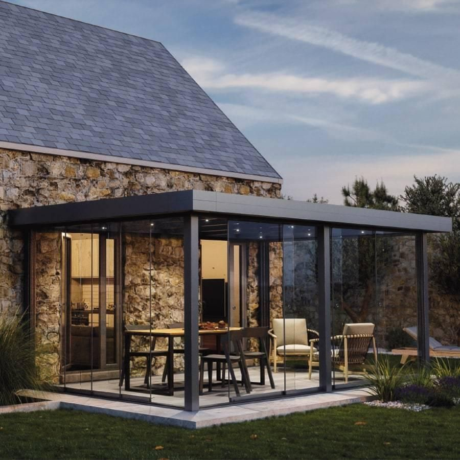 Pergolas étanche en aluminium sur mesure toit rigide fixe