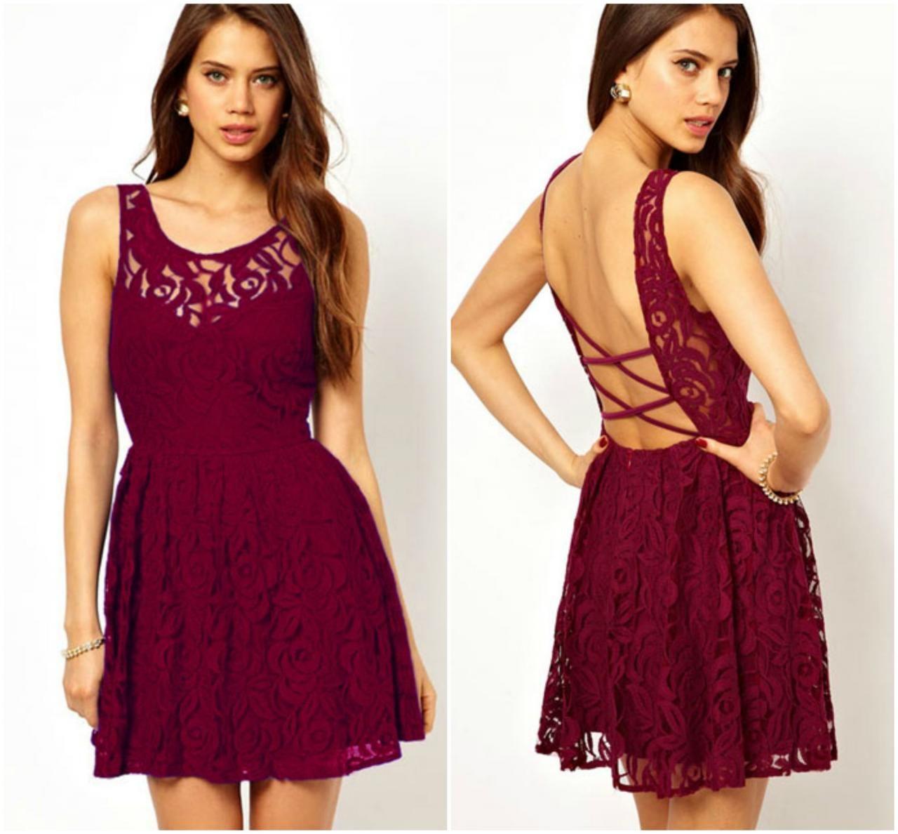 Cross Back Lace A Line Dress In Wine Red on Luulla