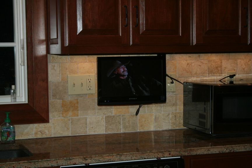 Small Kitchen Smart Tv Wall Mounted Tv Cabinet Tv In Kitchen