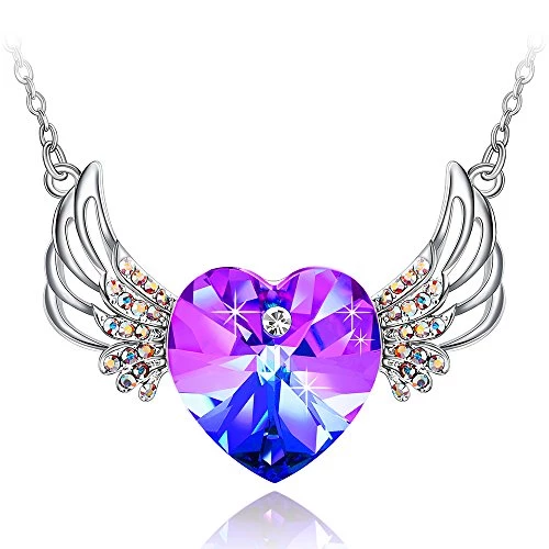 """Special Outlook Angel Wings Heart Shaped Pendant Necklace """"Mother's Day Gift"""" Swarovski Crystal Jewelry Gift for Women and Girls, 17.7"""" + 2"""" Adjustable"""